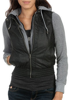WetSeal Fleece Hood Leatherette Jacket Black