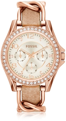 Fossil Riley Rose Gold Tone Stainless Steel Case and Nude Leather Strap Women's Watch $135 thestylecure.com