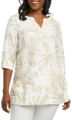 Foxcroft Toni Palm Linen Shirt