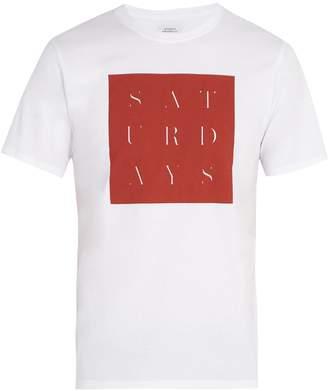 Saturdays NYC Stencil grid-print cotton T-shirt