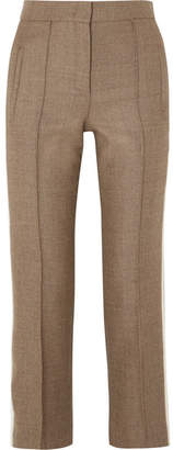 Fendi Striped Silk-trimmed Fleece Wool-blend Straight-leg Pants - Brown
