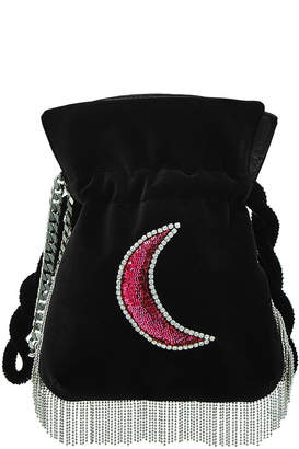 Les Petits Joueurs Trilly Disco Moon Embellished Velvet Pouch