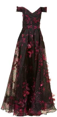 Marchesa Floral Long Dress