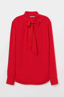 H&M Blouse with Tie Collar - Red