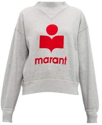 Etoile Isabel Marant Moby Flocked Logo Cotton Blend Sweatshirt - Womens - Grey