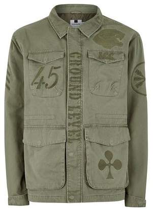 Topman Mens Khaki Embroidered Military Jacket