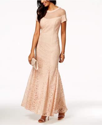 R & M Richards Lace Illusion Gown