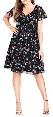 City Chic Plus Sweet Jasmine Floral Print Dress