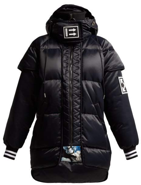 Off White Quilted Down Satin Jacket - Womens - Black