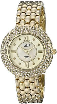 Burgi Women's BUR125YG Diamond & Crystal Accented Mother-of-Pearl Yellow Gold Bracelet Watch