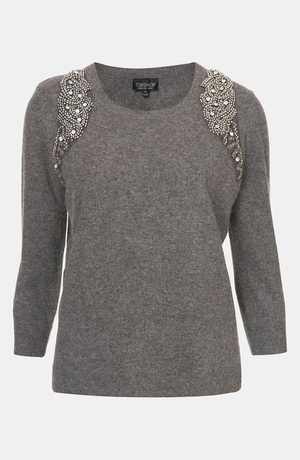 Topshop Embellished Harness Sweater