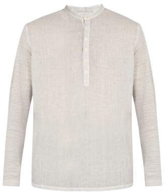 120% Lino Henley Long Sleeved Linen T Shirt - Mens - Grey