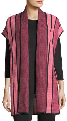 Misook Striped Long Cardigan, Plus Size