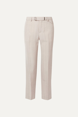 Bottega Veneta Belted Cropped Woven Straight-leg Pants - Beige