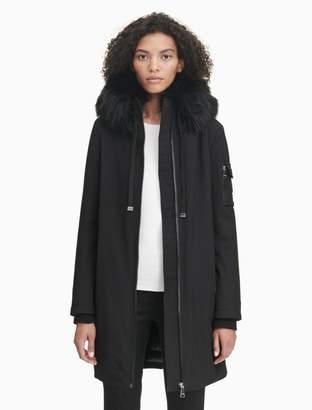 Calvin Klein faux fur hood soft shell zip jacket