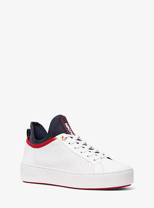 Michael Kors Ace Perforated Leather And Scuba Sneaker