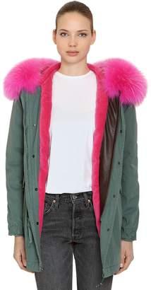 Mr & Mrs Italy Cotton Canvas Parka W/ Fur