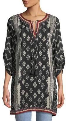 Tolani Journey Ikat-Print Tunic Dress