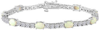 JCPenney FINE JEWELRY Sterling Silver over Brass Lab-Created Opal and Cubic Zirconia Tennis Bracelet