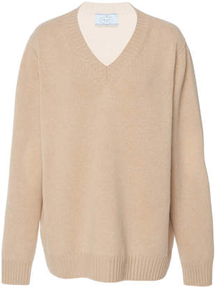 Prada Rib-Knit Cotton V-Neck Sweater
