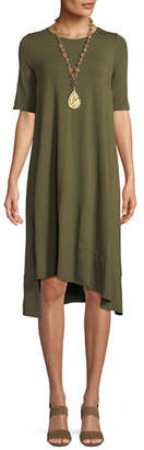 Eileen Fisher Short-Sleeve Lightweight Jersey Asymmetric Dress, Petite