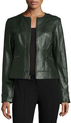 Neiman Marcus Collarless Zip-Front Lambskin Leather Jacket, Hunter Green $225 thestylecure.com
