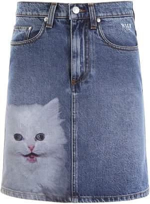 MSGM (エムエスジーエム) - Msgm MSGM Denim Mini Skirt With Cat Print