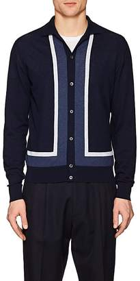 Luciano Barbera Men's Striped Semi-Sheer Cotton Cardigan