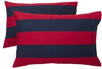 Pottery Barn Teen Rugby Stripe Extra Pillowcases, Set of 2, Navy/ Red