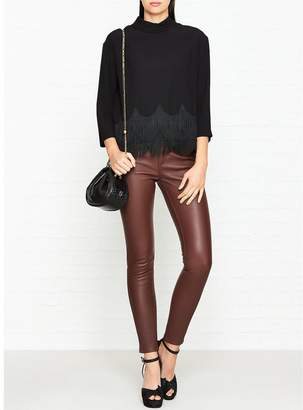 Marc Jacobs 3/4 Satin Sleeve Top With Button Down Back- Black
