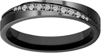 Black Ion-Plated Titanium Cubic Zirconia Diagonal Stripe Wedding Ring