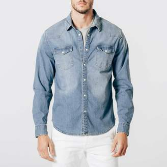DSTLD Mens Snap Button Down Denim Shirt in Light Wash