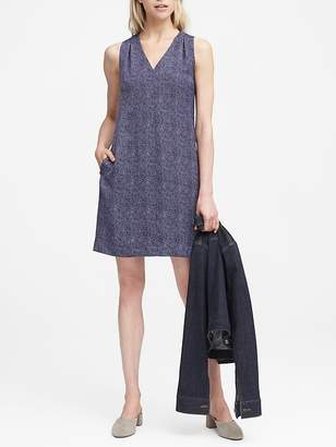 Banana Republic Herringbone Pleated-Shoulder Shift Dress