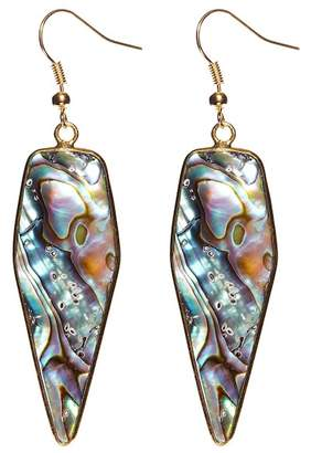 Avah and Ella Infinite Time Abalone Shell Kite Cut Stone Statement Earrings