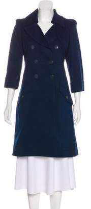 Chanel Knee-Length Button-Up Coat Navy Knee-Length Button-Up Coat