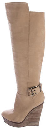 B Brian Atwood Nubuck Wedge Boots $145 thestylecure.com