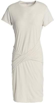 James Perse Twist-Front Cotton Linen And Ramie-Blend Jersey Mini Dress