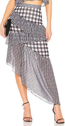LPA Asymmetric Ruffle Maxi Skirt