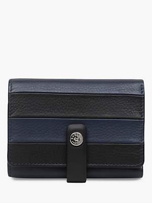 Radley Castle Street Leather Stripe Card Holder, Dark Blue