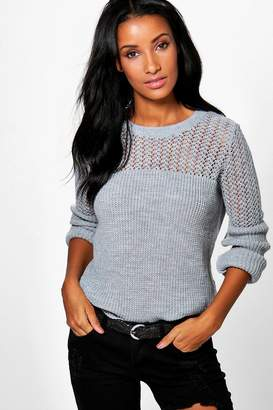boohoo Open Knit Crew Neck Jumper