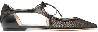 Jimmy Choo Vanessa Cutout Leather And Mesh Point-toe Flats - Black