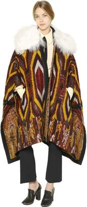 Chloé Faux Shearling & Wool Tapestry Cape
