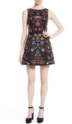 Women's Alice + Olivia Lindsey Embroidered A-Line Dress $595 thestylecure.com