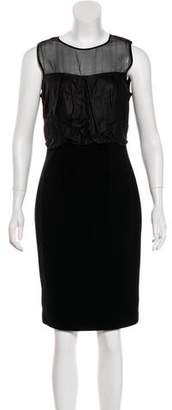 L'Agence Leather-Accented Sheath Dress