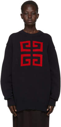 Givenchy Navy Intarsia 4G Crewneck Sweater