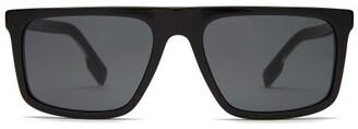 Burberry Penford Square Frame Straight Brow Sunglasses - Mens - Black