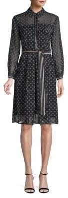 Marella Printed Button-Front A-Line Dress