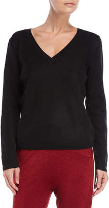 Scotch & Soda Black Metallic V-Neck Sweater