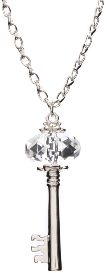 ASOS Crystal And Silver Key Pendant