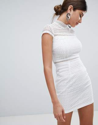 Missguided Lace High Neck Mini Dress